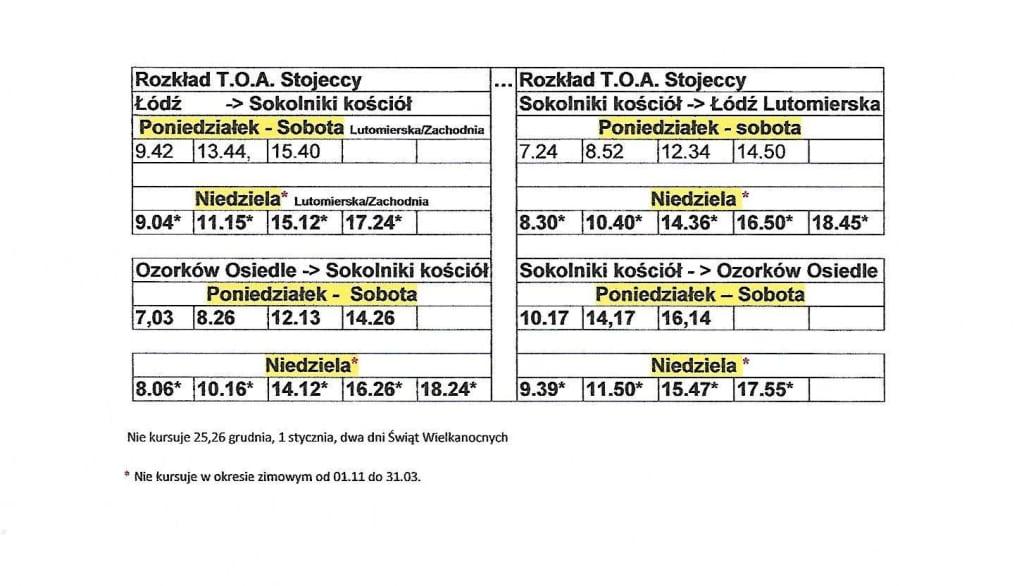 rozkład jazdy autobusów do Sokolnik Sokolniki-Las Łódź Ozorków autobus stojeccy